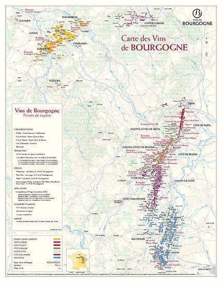 Carte Bourgogne Viticole.Gamme Cartes Vins De Bourgogne
