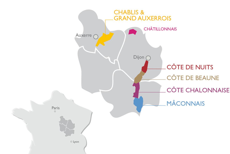 Carte Vin Bourgogne Blanc.Carte De La Bourgogne Viticole Et Ses Cinq Regions Vins De
