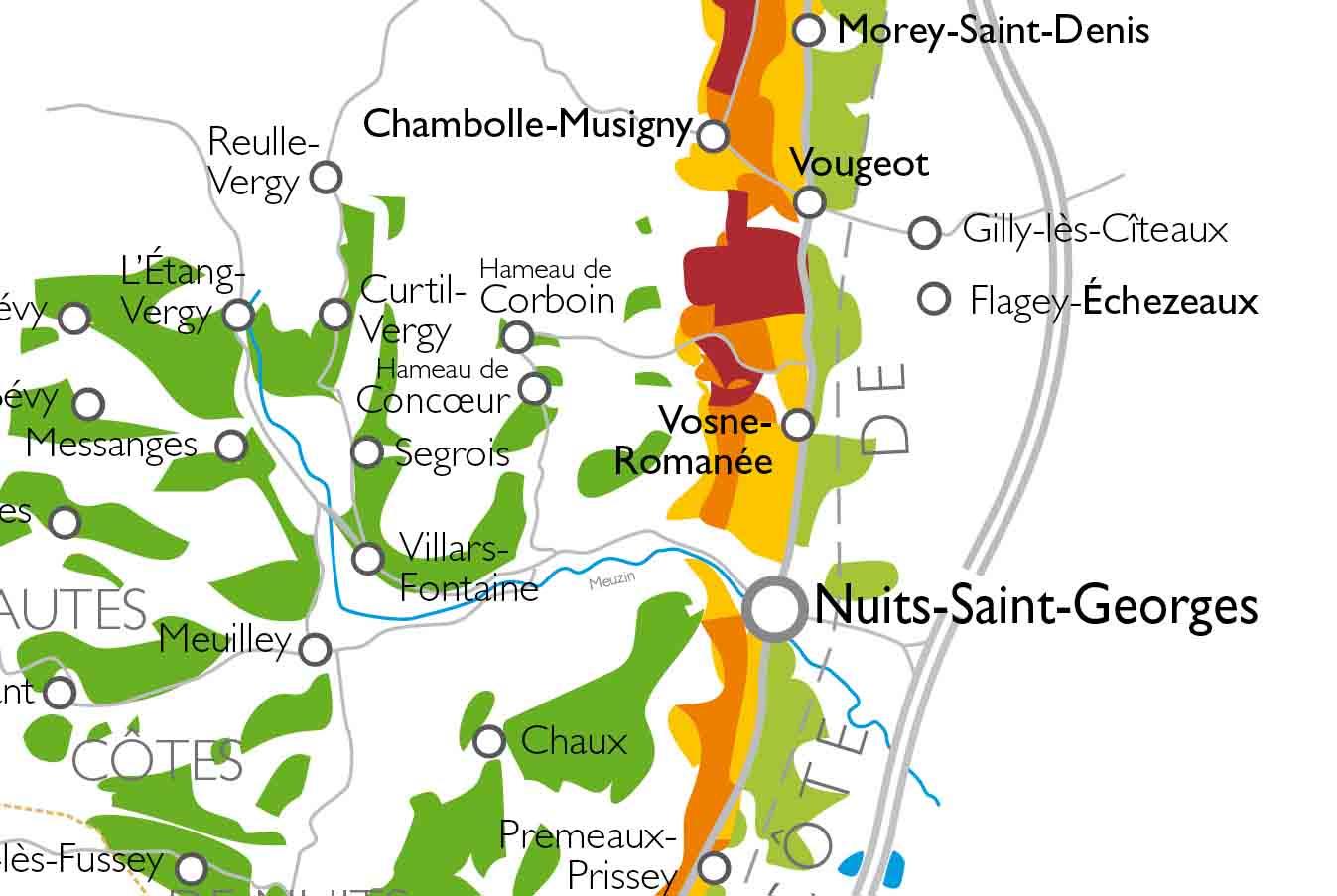 Carte Route Des Vins Bourgogne.Carte De La Cote De Nuits Et Hautes Cotes De Nuits Vins De