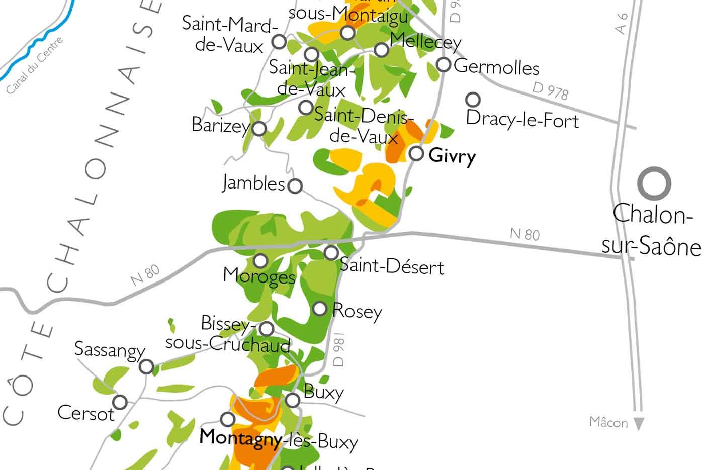 Carte Bourgogne Viticole.Carte De La Bourgogne Viticole Et Ses Cinq Regions Vins De Bourgogne